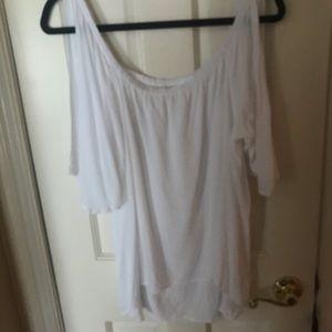 White split short sleeve top